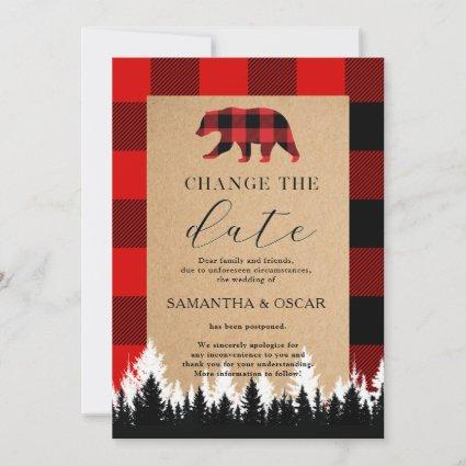 Red Buffalo Plaid Vintage Craft Save The Date