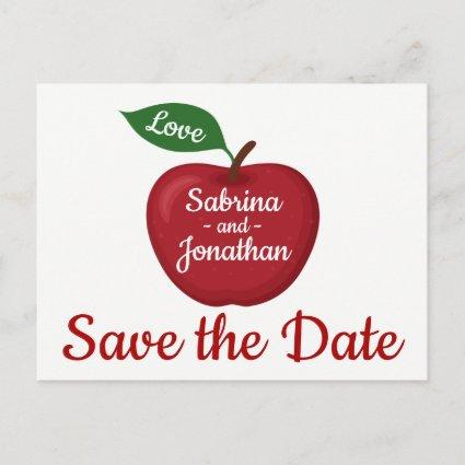 Red Burgundy Apple Save The Date Wedding Engagemen Announcement