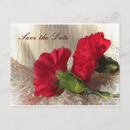 Red Carnations Save the Date Announcement