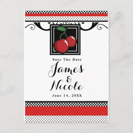Red Cherries Retro Glam Black & Red Save the Date Announcement