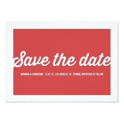 Red Chic Photo Save The Date Announcements