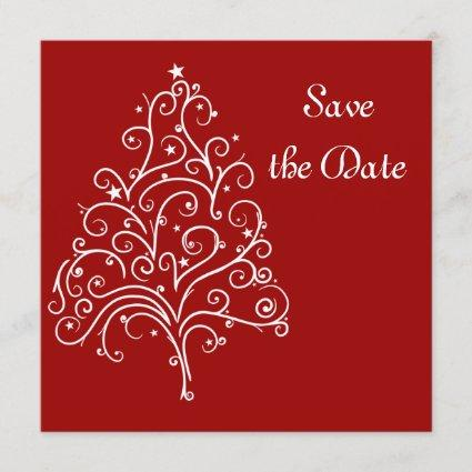 Red Christmas Tree Winter Wedding Save the Date
