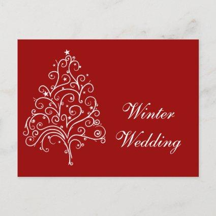 Red Christmas Tree Winter Wedding Save the Date Announcement