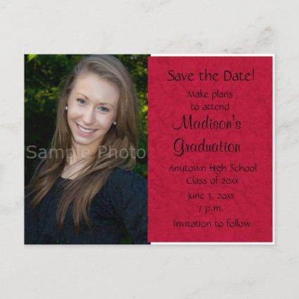 Red Custom Photo Graduation Save the Date Cards