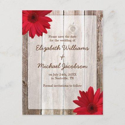 Red Daisy Rustic Barn Save the Date Announcement