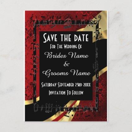 Red damask gold and black save the date announcement