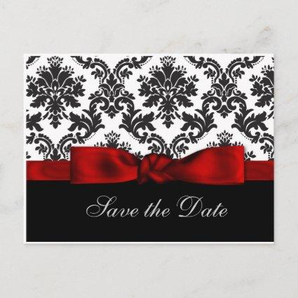 red damask   Announcements Cards