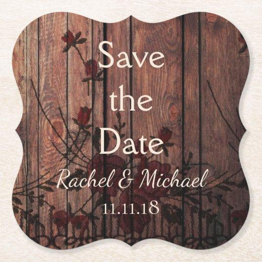 Red Faux Lace and Wood Save the Date Paper Coaster