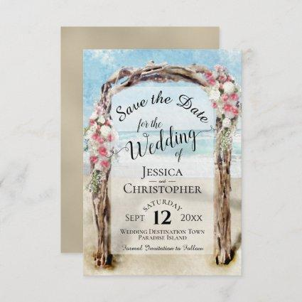 Red Floral Rustic Driftwood Beach Arbor Wedding Save The Date