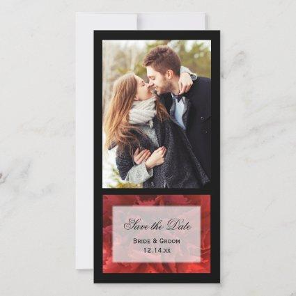 Red Floral Wedding Save the Date Announcement