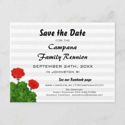 Red Geranium Reunion, Party, Event Save the Date Invitation