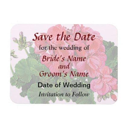 Red Geraniums and Buds Save the Date Magnet