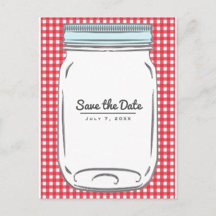 Red Gingham Checkered Rustic Country Save the Date Announcement