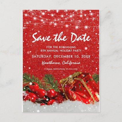 Red Glitter Christmas Holiday Party Save the Date Announcement