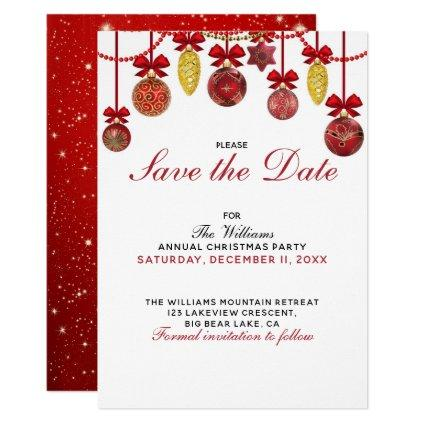 1c34f356261a RED GOLD BAUBLES Christmas Party Save the Date Invitation