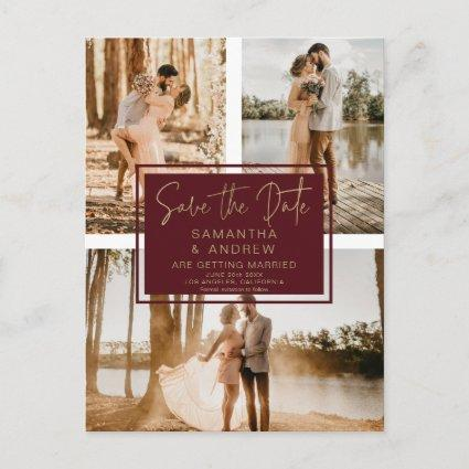 Red gold save the date 3 photo grid collage
