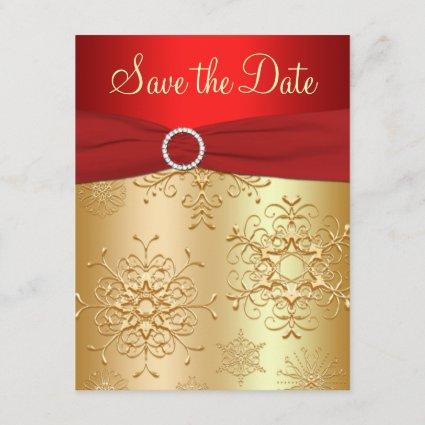 Red, Gold Snowflakes Wedding Save the Date Cards