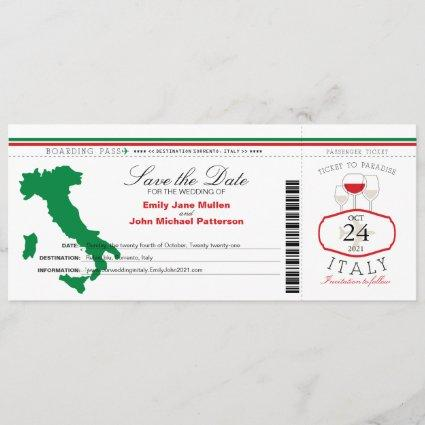 Red Green Italy Boarding Pass Wedding Invitation