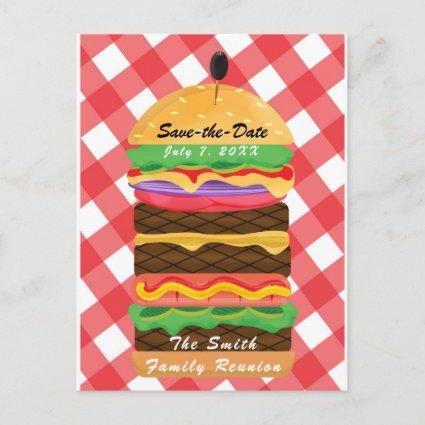 Red Hamburger Summer Cookout Barbecue BBQ Party Announcement