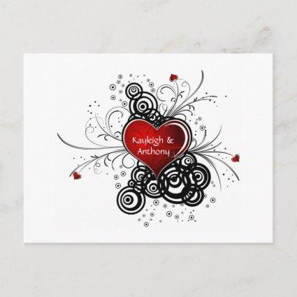 Red Heart Black Swirls Save The Date Announcements Cards