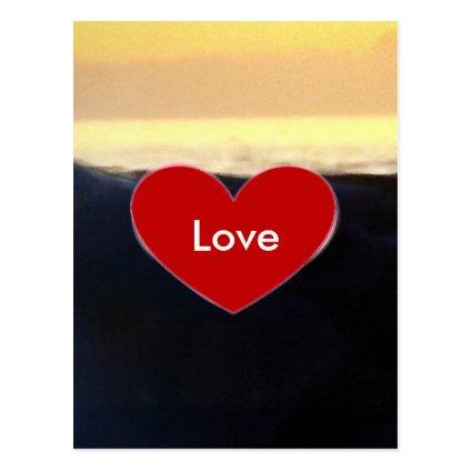 Red Heart & Sea Wave Love Script Cards
