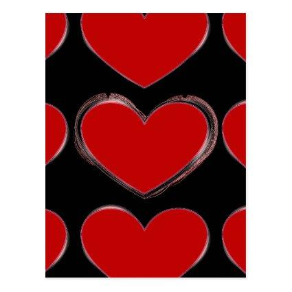 Red Hearts Black Pop Art Love Cards