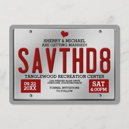 Red License Save the Date Announcements