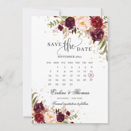 Red marsala blush burgundy pink floral gold save the date