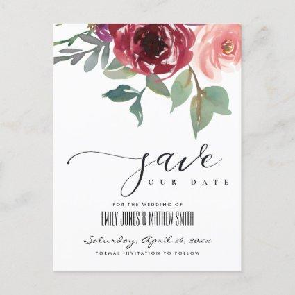RED MARSALA ROSE WATERCOLOR FLORAL SAVE THE DATE ANNOUNCEMENT