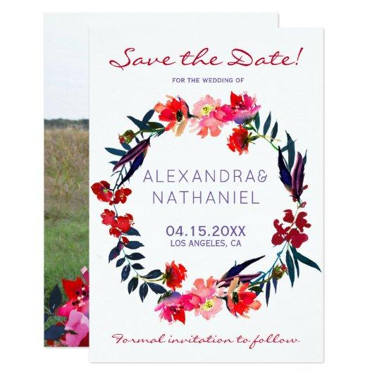 Personalised blue and red floral wreath save the date cards