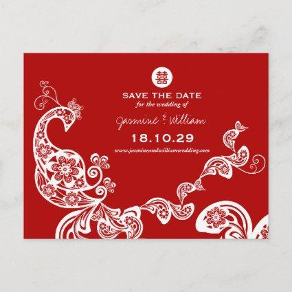 Red Peacock Double Happiness Chinese Save The Date Announcement
