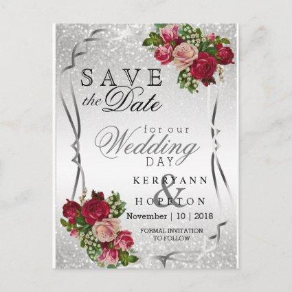 Red & Pink Flowers & Silver Glitter Save the Date Announcement