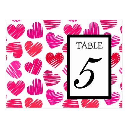 Red pink hearts Wedding Table Number Cards