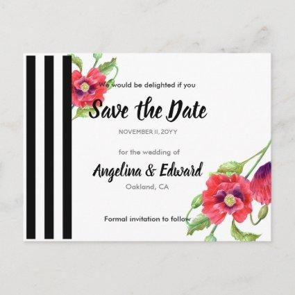 Red Poppies Wild Floral Wedding Save The Date Announcement