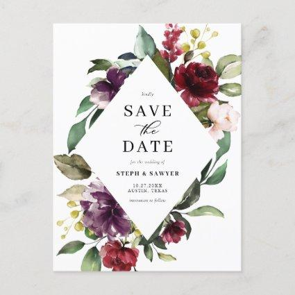 Red & Purple Watercolor Floral Frame Save The Date Announcement