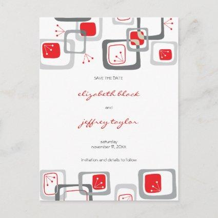 Red Retro Cherry Squares Mod Art Save The Date Announcements Cards