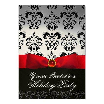 RED RIBBON WHITE BLACK  DAMASK HOLIDAY PARTY Ruby Invitation