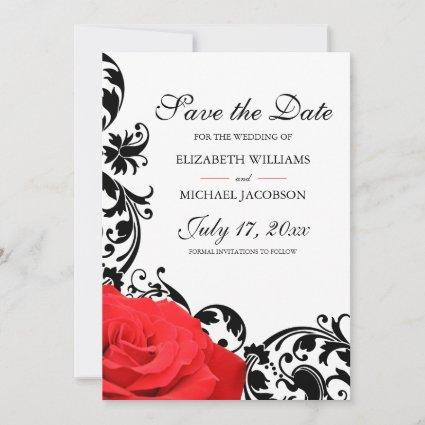 Red Rose Black Flourish Wedding Save The Date
