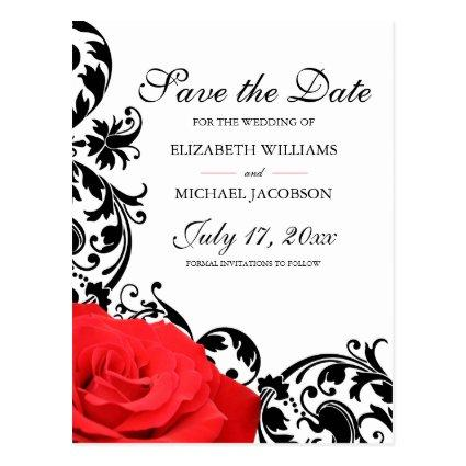 Red Rose Black Flourish Wedding Save the Date Cards