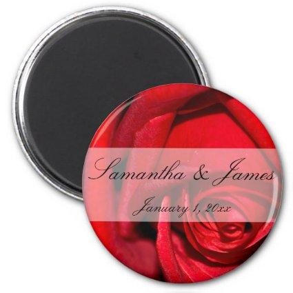 Red Rose Close Up Personal Wedding Magnet