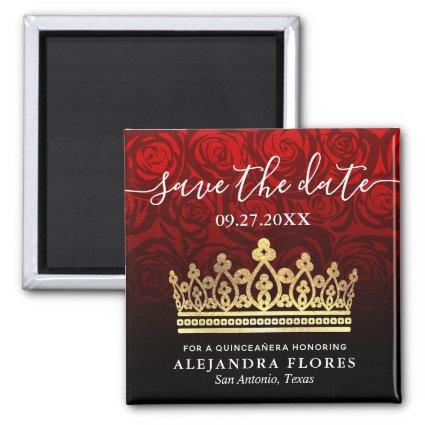 Red Rose Gold Black Quinceanera Save the Date Magnet