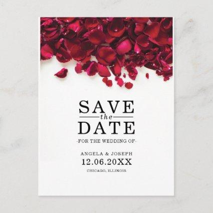 Red Rose Petals Wedding Save the Date Announcement