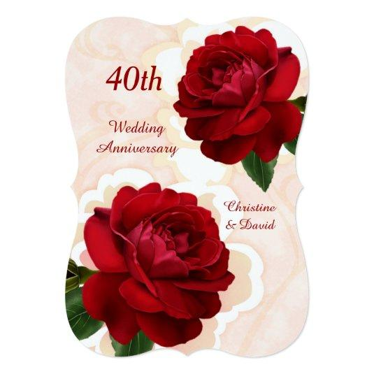 Red Roses 40th Ruby Wedding Anniversary Invitation Save
