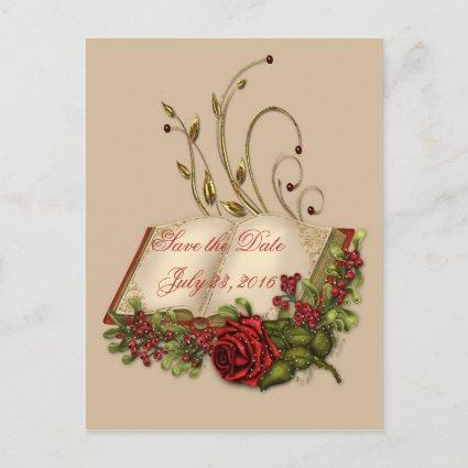 Red Roses and Open Bible Embellished Save the Date Announcements Cards