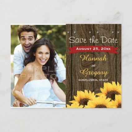 RED RUSTIC SUNFLOWER SAVE THE DATE Cards