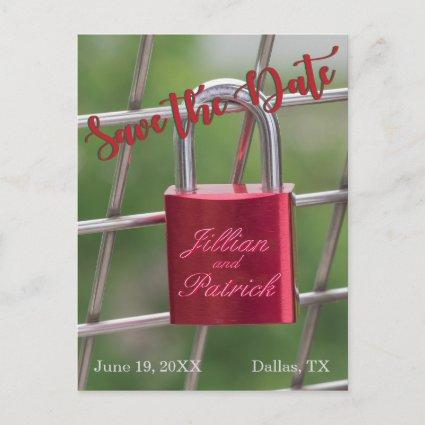 Red Save the Date Lovers Padlock Specialized Announcement
