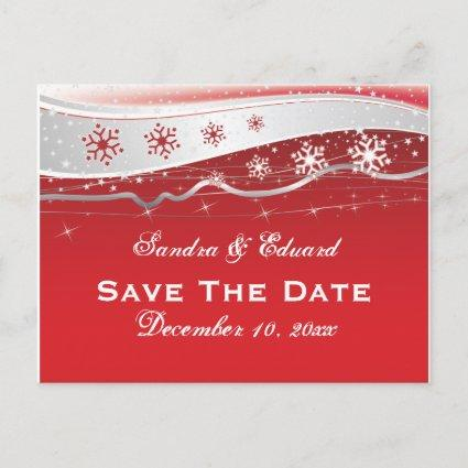 Red, silver grey snowflake wedding Save the Date Announcement