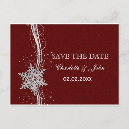 red Silver Snowflakes Winter save the Date Announcement