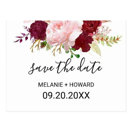 Red Tropical and Romantic Save the Date Card