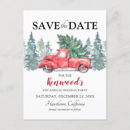 Red Truck Christmas Holiday Party Save the Date Announcement